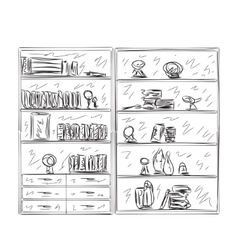 Hand drawn shelves furniture sketch vector