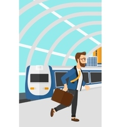 Man going out of train vector