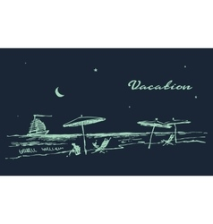 Drawn landscape seaside night beach boat vector