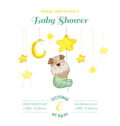 Baby shower card - baby dog catching stars vector