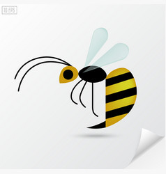 Cartoon honey bee in flat style vector