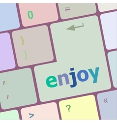 Enjoy word on keyboard key notebook computer vector