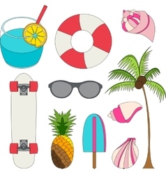 Set of summer lovely things vector