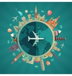 Travel around the world flat design vector image