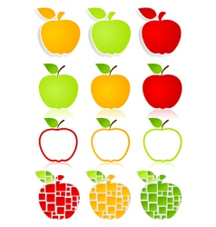 apples icons vector image vector image