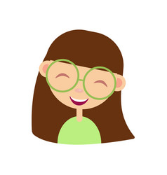 Cartoon girl nerd funny female character in vector