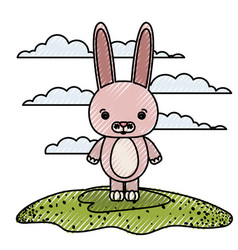 color crayon silhouette scene caricature rabbit vector image