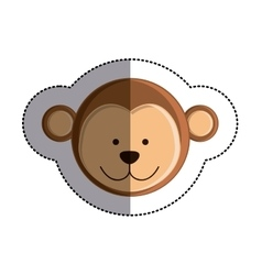 Color sticker with monkey head and middle shadow vector