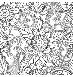 Coloring pages for adults Seamles Henna Mehndi vector image