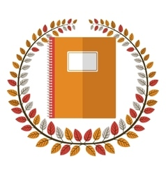 Crown of leaves with notebook vector