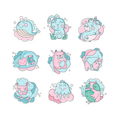 cute cartoon baby animals sleeping set sweet vector image vector image