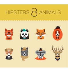 Cute fashion Hipster Animals set 1 of icons vector image