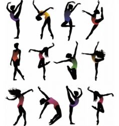 dance girl ballet silhouettes vector vector image vector image