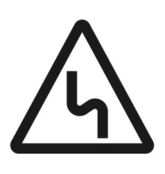 dangerous double bend sign line icon vector image