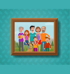 Family photo on wall in wooden frame cartoon vector