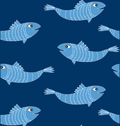 Fish seamless background underwater marine vector