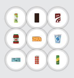 Flat icon food set of yogurt fizzy drink vector