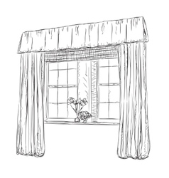 Hand drawn Windows Sketch Curtains vector image