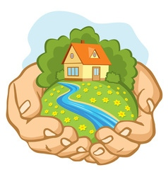 Hands holding a piece of land with a house vector