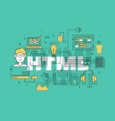 Html coder creative banner vector