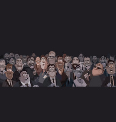 large crowd of funny cartoon people in a dark room vector image
