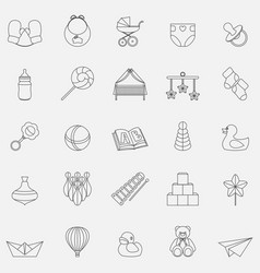 line baby icons set vector image