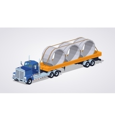 Low poly blue heavy truck and yellow trailer with vector image vector image