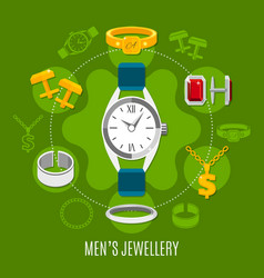 mens jewelry round composition vector image vector image