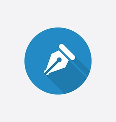 pen Flat Blue Simple Icon with long shadow vector image