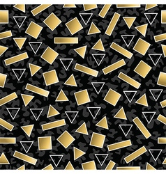 Retro 80s geometry seamless pattern gold shape vector
