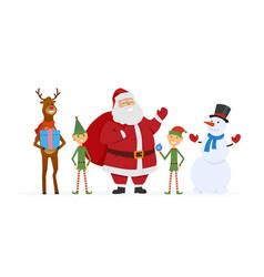 Santa with elves reindeer snowman - cartoon vector