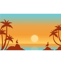 Silhouette of seaside with bird vector