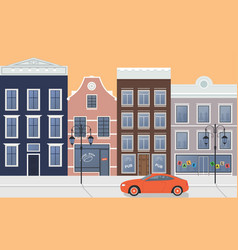 street city home and car vector image