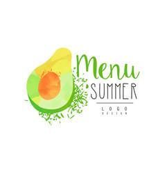Summer menu logo design label with avocado for vector
