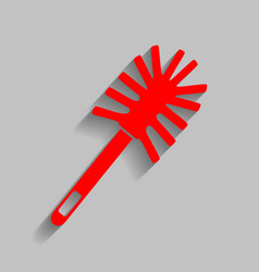 Toilet brush doodle red icon with soft vector