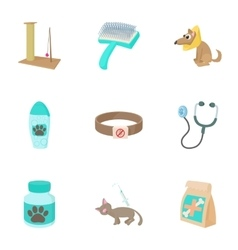 Treatment of animals icons set cartoon style vector