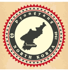 Vintage label-sticker cards of North Korea vector image