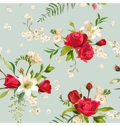 Vintage rose and lily flowers background vector