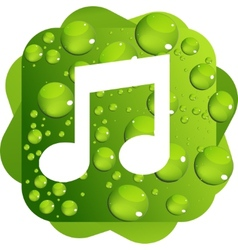 Water drops on green background music icon vector