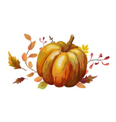 Watercolor design autumn leaf pumpkin vector