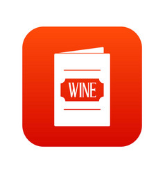 wine list icon digital red vector image