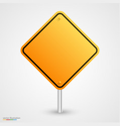 yellow empty road sign vector image vector image