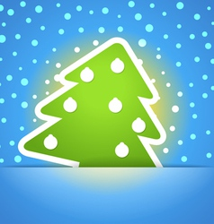 Green christmas tree with baubles vector