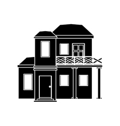 Pictogram house with balcony roof vector