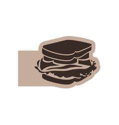 color emblem with silhouette big sandwich vector image