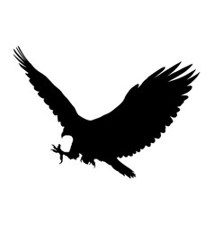 Eagle flying silhouette isolated on white vector