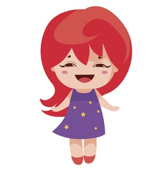 Kawaii cheerful magic-red baby-grl vector