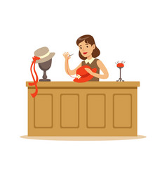 Young woman making hats craft hobby or profession vector