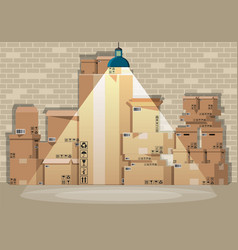 pile cardboard boxes set in warehouse vector image