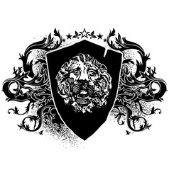 Lion shield design elements vector